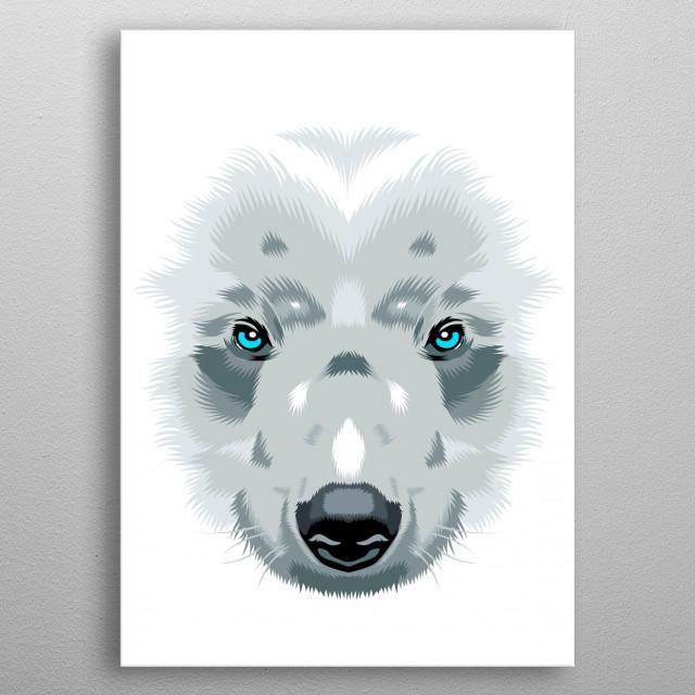 Bear White metal poster