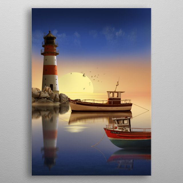 The lighthouse in harbor with fishing boats in the sunrise. metal poster
