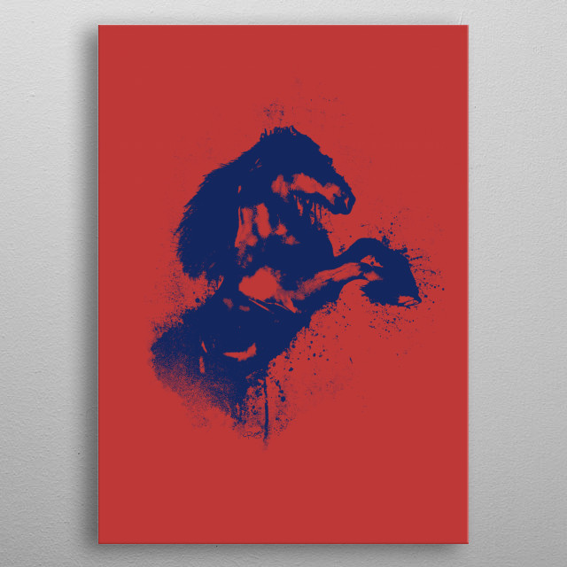 Horse in 2 colors metal poster