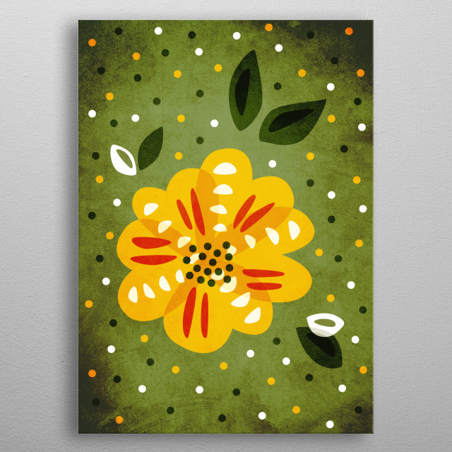 Decorative flower illustration depicting a lovely primrose (also known as Primula) with yellow petals. It's a lovely spring flower also use... metal poster