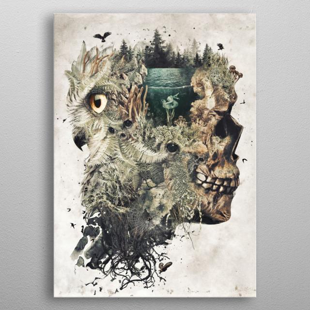 My original dark surrealism called Forest Lake Dream metal poster