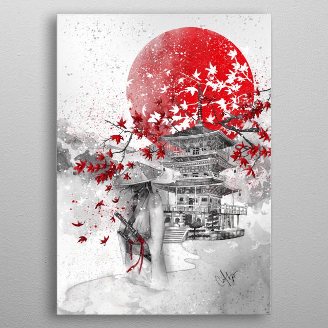 """The Warrior Path""""these days my inmost thoughts recallan autumn sunsetfujiwara-no-Yoshitsune """"(1169-1206) metal poster"""