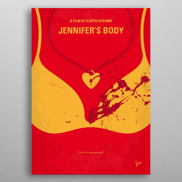 No698 My Jennifers body minimal movie poster  A newly possessed high school cheerleader turns into a succubus who specializes in killing her ... metal poster