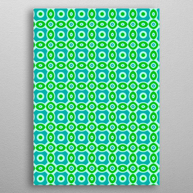 green and blue geometric pattern metal poster