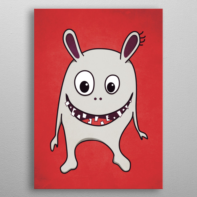 Funny crazy cartoon monster with cracked teeth happily smiling. metal poster
