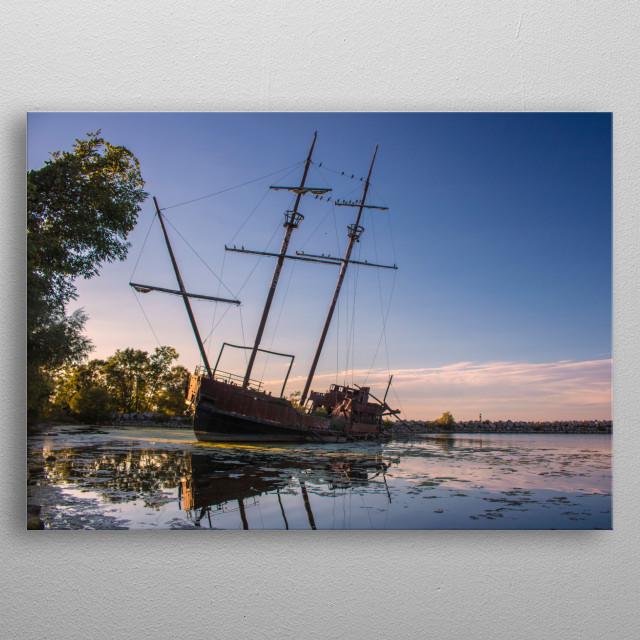 Wrecked in the Sunset. Taken by Ken Chambers Jordan Harbour, Jordan, Ontario, Canada metal poster