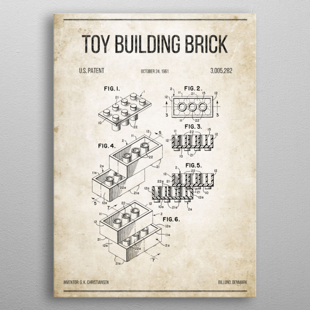 Toy Building Brick (LEGO) U.S. Patent #3,005,282 on old paper. metal poster