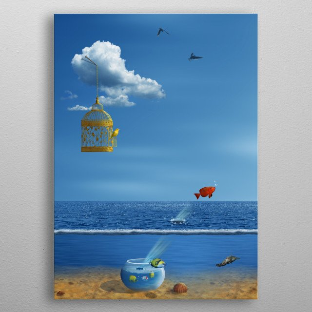 Bird out of the cage and the fish from the sea, escape. Surreal Scene of freedom. metal poster