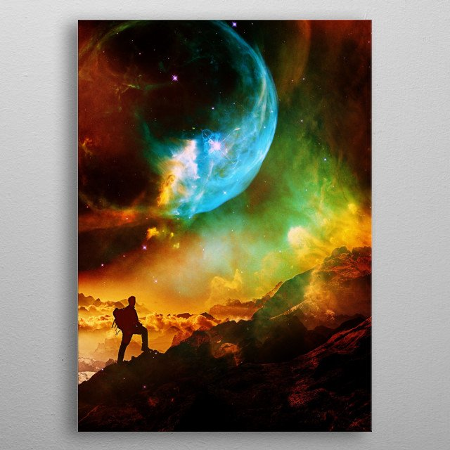 A fantasy Mars landscape of a hiker. metal poster