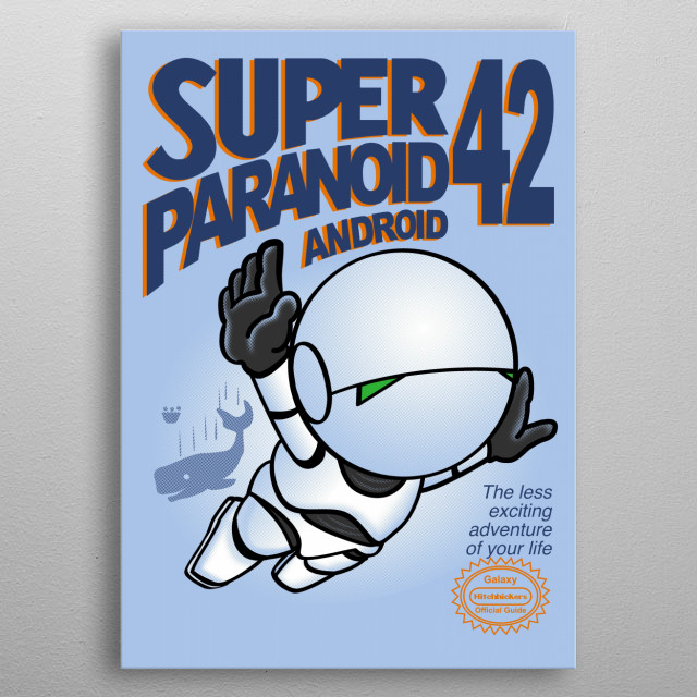 hitchhikers guide to the galaxy. Marvin the paranoyd android, metal poster