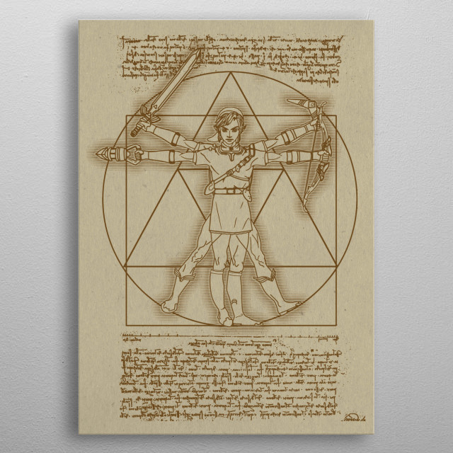 the vitruvian hylian. with all his items of ocarina of time metal poster