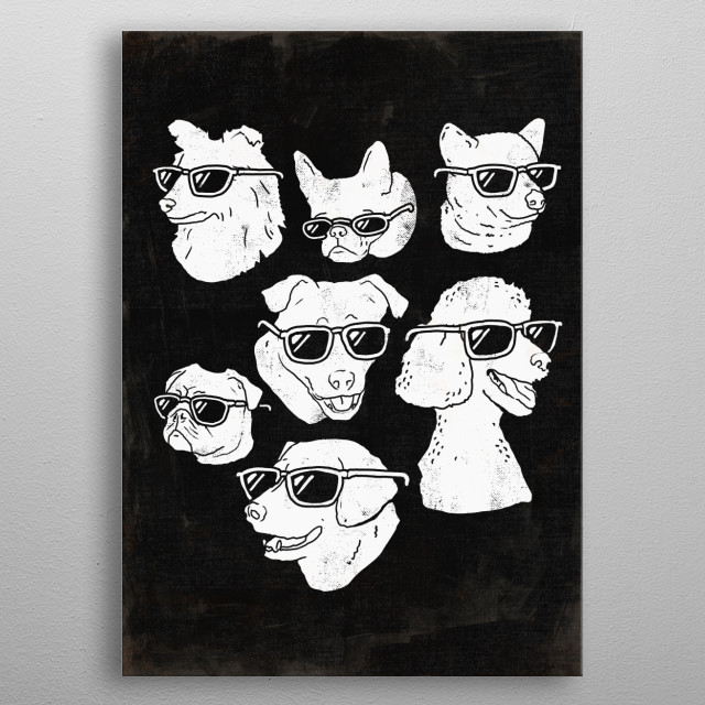 Puppers  Dog Dogs Puppy Puppies Animals Black / White / Art / Print / Dog Portraits / Shiba Inu / Labradors / Terriers / Pugs / Poodles / Dog... metal poster