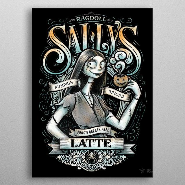 Artist J.P. Perez and Barrett Biggers collaboration fictional coffee latte label  metal poster