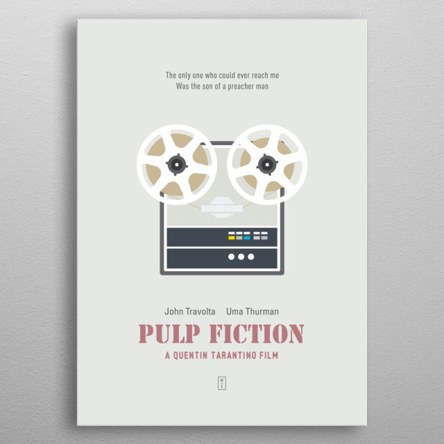 PULP FICTION: Minimalist Movie Poster - Quentin Tarantino, John Travolta, Uma Thurman, Samuel L. Jackson, Bruce Willis, Tim Roth metal poster