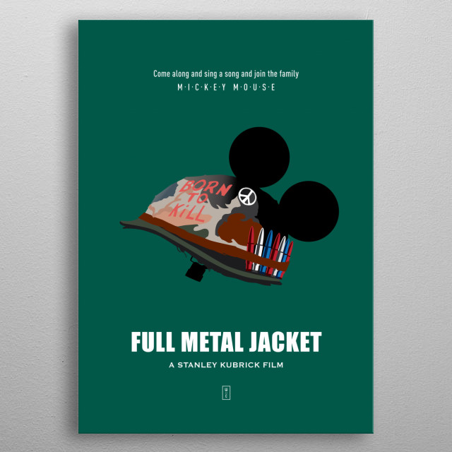 FULL METAL JACKET: Minimalist Movie Poster - Stanley Kubrick, Matthew Modine, R. Lee Ermey, Vincent D'Onofrio metal poster
