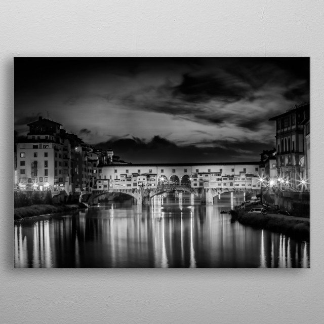 Medieval Ponte Vecchio is the oldest bridge in town and a popular landmark of Florence. A lovely cityscape during sunset in black and white. metal poster