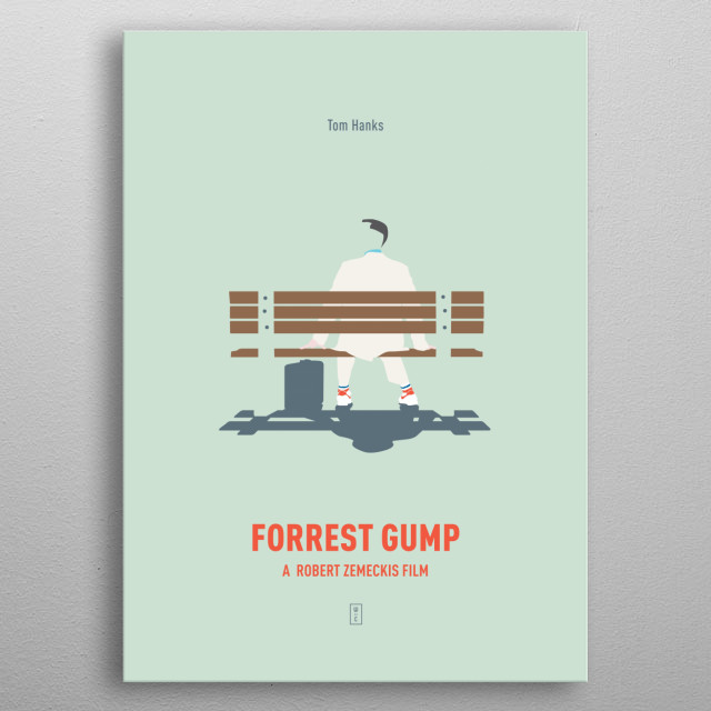FORREST GUMP: Minimalist Movie Poster -  Tom Hanks, Robin Wright, Gary Sinise, Robert Zemeckis metal poster