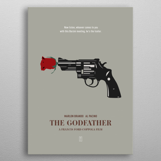 THE GODFATHER: Minimalist Movie Poster - Marlon Brando, Al Pacino, James Cann, Robert Duvall, John Cazale, Mario Puzo, Francis Ford Coppola metal poster