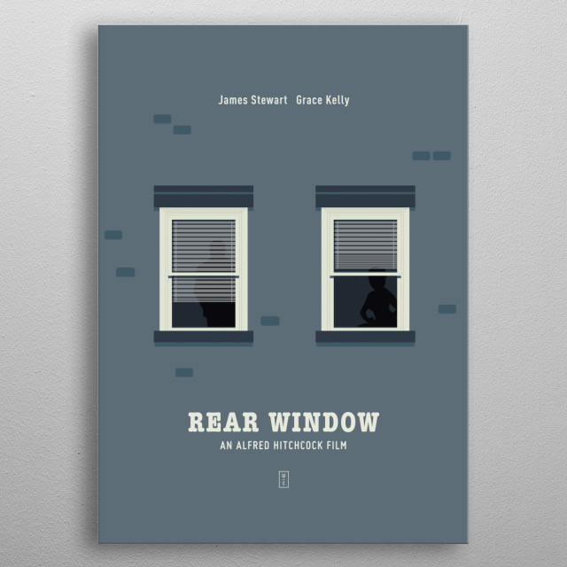 REAR WINDOW: Minimalist Movie Poster - Alfred Hitchcock, James Stewart, Grace Kelly metal poster