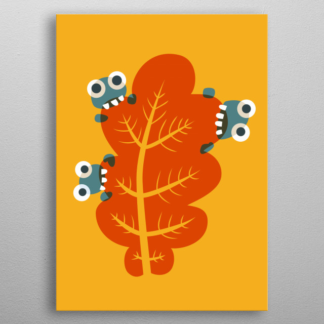 Cute autumn illustration of three cartoon bugs with huge eyes who nibble on an autumnal orange leaf.  metal poster