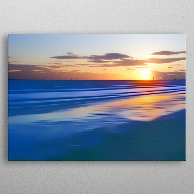 Sunset in the Irish sea from Crosby beach near Liverpool, Northwest, England.  metal poster