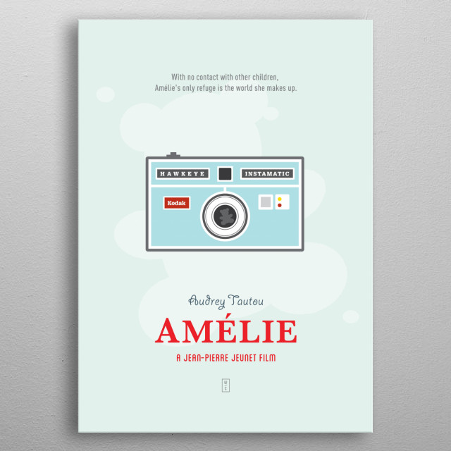AMELIE: Minimalist Movie Poster -  Audrey Tautou, Mathieu Kassovitz, Jean-Pierre Jeunet  metal poster