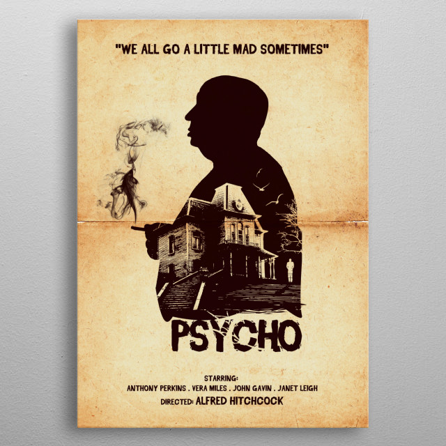 Psycho art movie inspired. metal poster