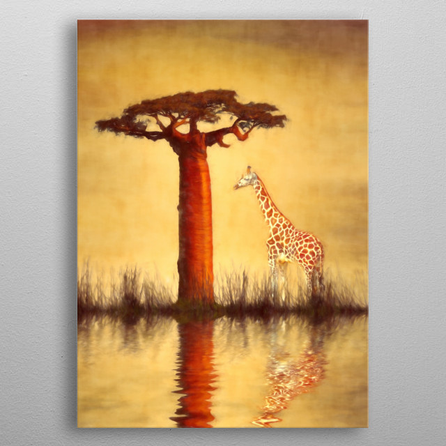 Image compilation used to create this beautiful African image of a giraffe under a Baobab tree. Tree - http://coolzero2a.deviantart.com/art/B... metal poster