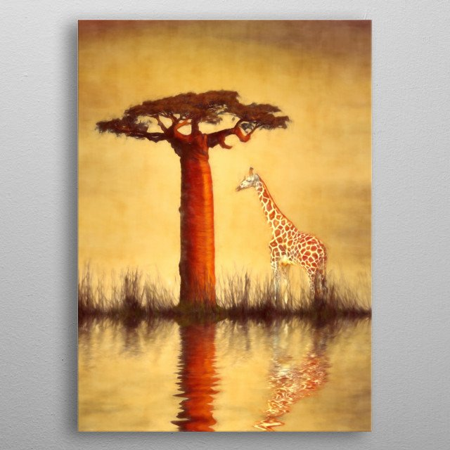 Image compilation used to create this beautiful African image of a giraffe under a Baobab tree. Tree - http://coolzero2a.deviantart.com/art/Baobab-01-470118629 Giraffe - http://www.deviantart.com/art/Giraffe-Trio-2-PNG-540431550 All other effects by myself. Water colour effect added. metal poster