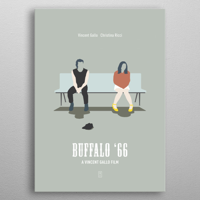 Buffalo '66: Minimalist Movie Poster - Vincent Gallo, Christina Ricci metal poster