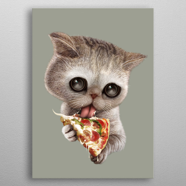CAT LOVES PIZZA metal poster