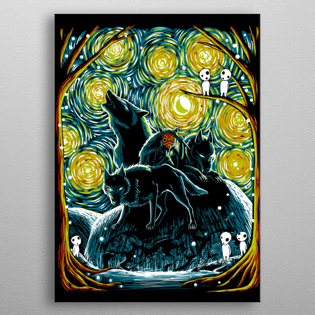 Starry Forest metal poster