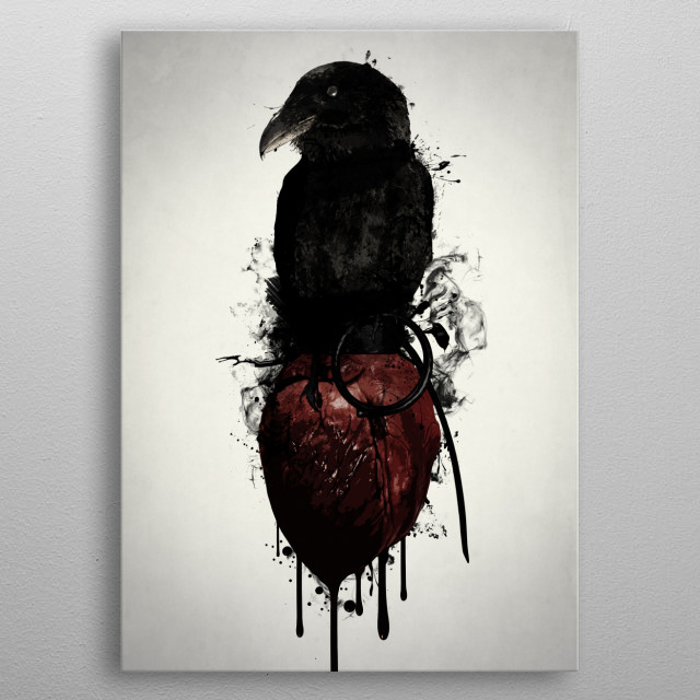 Raven and Heart Grenade metal poster