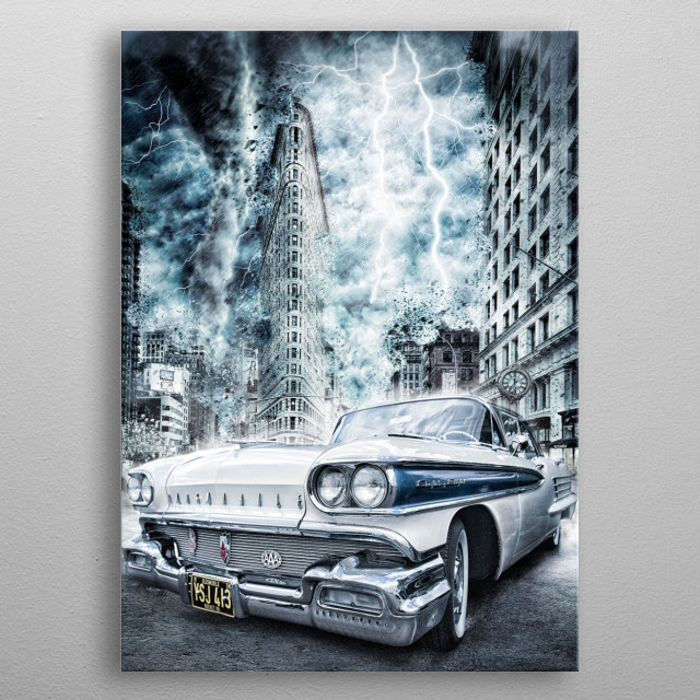 combining old cars with scifi to create something different. metal poster