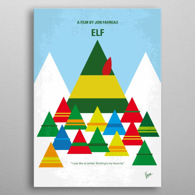 No699 My ELF minimal movie poster  After inadvertently wreaking havoc on the elf community due to his ungainly size, a man raised as an elf a... metal poster
