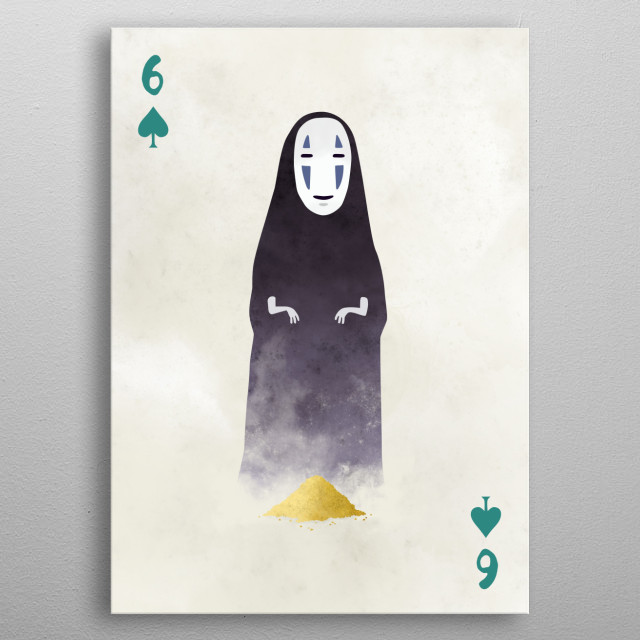 """No-Face from """"Spirited Away"""". Illustration from my Ghibli cards series. metal poster"""
