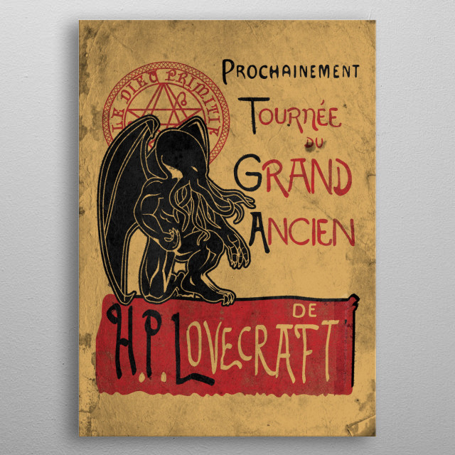 Tournee du grand ancien. cthulhu the ancient god. metal poster