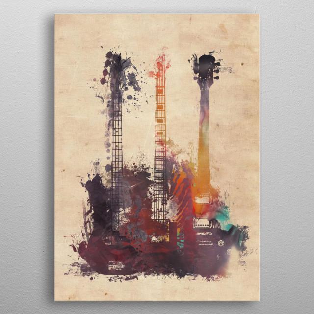 3 guitars metal poster