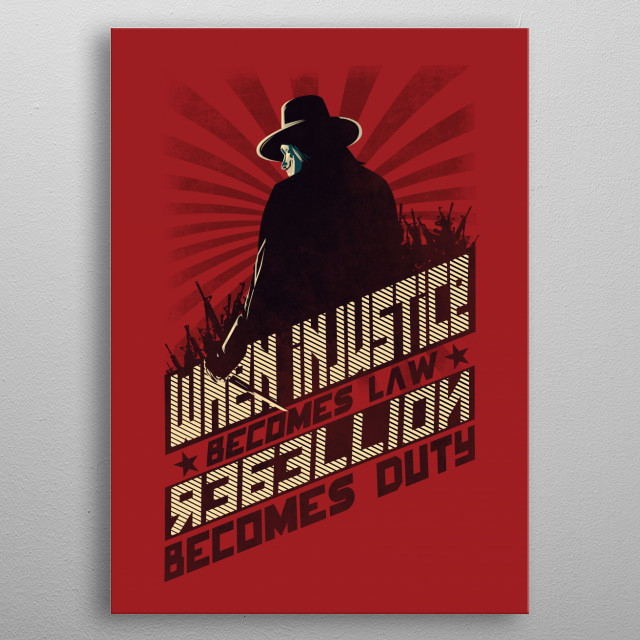 V for vendetta design with russian constructivism style. metal poster