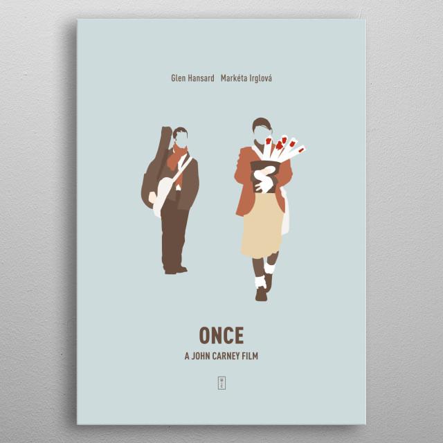 Once: Minimalist Movie Poster - Glen Hansard, Marketa Irglova, John Carney metal poster