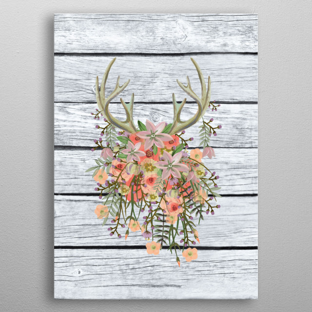 flowers illustration metal poster