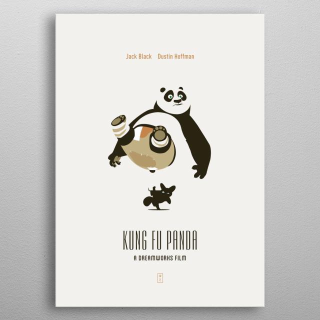 Kung Fu Panda: Minimalist Movie Poster - Jack Black, Dustin Hoffman, Dreamworks metal poster