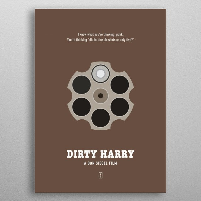 Dirty Harry: Minimalist Movie Poster - Clint Eastwood, Don Siegel metal poster