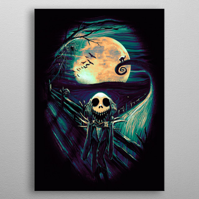 The Scream Before Christmas - A mixture of pop culture elements. The scream by Edvard Munch and Tim Burton's Nightmare Before Christmas. metal poster
