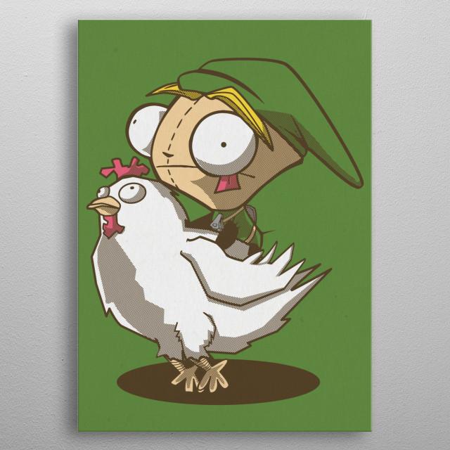 Invader Link riding a Cucco metal poster