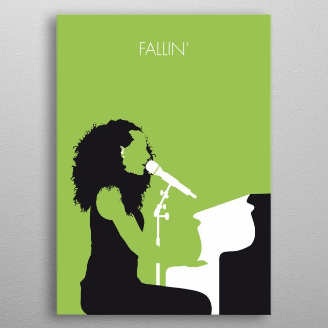"""No066 MY ALICIA KEYS Minimal Music poster """"Fallin'"""" is a song by American singer Alicia Keys from her debut studio album Songs in A Minor (2001). It was released as the lead single from Songs in A Minor in April 2, 2001, by J Records. """"Fallin'"""" is generally considered her signature song. metal poster"""