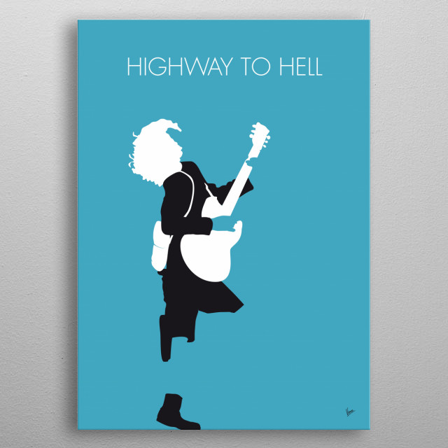 """No065 MY ACDC Minimal Music poster  """"Highway to Hell"""" is the opening track of AC/DC's 1979 album Highway to Hell. It was initially released as a single in 1979. metal poster"""