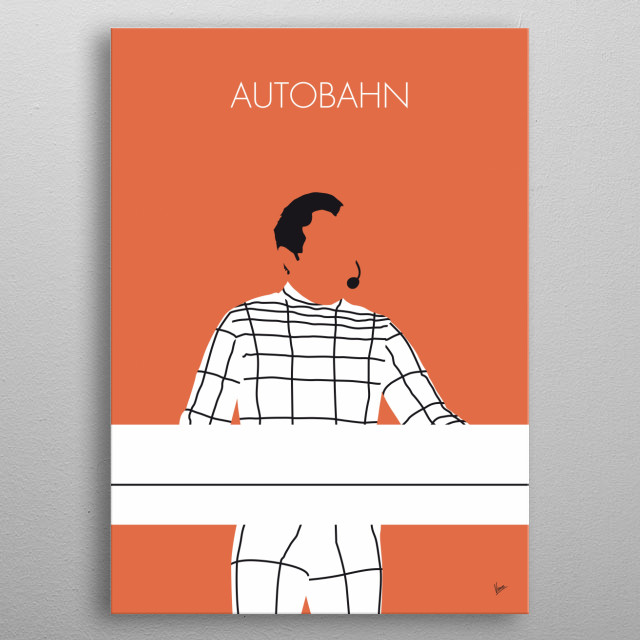 """No063 MY KRAFTWERK Minimal Music poster Autobahn is the fourth studio album by German electronic band Kraftwerk, released in November 1974. The 22-minute title track """"Autobahn"""" was edited to 3:27 for single release and reached number 25 on the US Billboard Hot 100 chart, number 30 in the Australian chart,[8] and performed even higher around Europe, reaching number 11 in the UK and number 12 in the Netherlands. This commercial success came after the band had released three experimental and pur metal poster"""