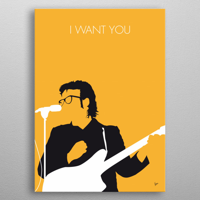 "No067 MY ELVIS COSTELLO Minimal Music poster   ""I Want You"" is a song written and recorded by Elvis Costello. It was released as a single from his 1986 album Blood & Chocolate. metal poster"