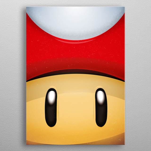 Mushroom. Grow Up. FaceGame. Illustration with highlights and shadows. Mario Red metal poster
